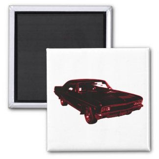 Red Classic Car 2 Inch Square Magnet
