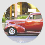 Red Classic Car Round Stickers