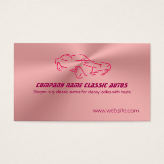 Red Classic Car template - Rose Pink Faux Chrome Business Card