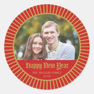 Red Classic Decorative Happy New Year Photo Classic Round Sticker