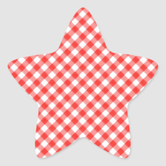 Red Classic Gingham Pattern Pic Nic Star Sticker