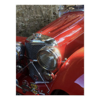 Red Classic Sports Car Poster