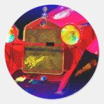 Red Classic Sports Car Round Sticker