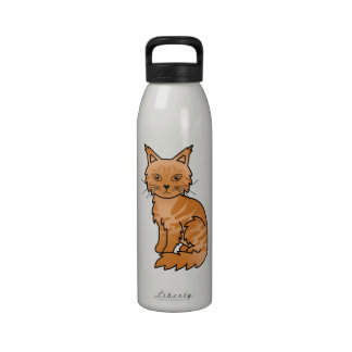 Red Classic Tabby Maine Coon Water Bottle