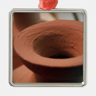 Red Clay Pottery Photography Metal Ornament