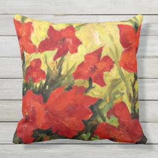 Red Clematis, Bold Red Floral Painting Throw Pillow