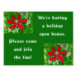 "Red Clematis Floral Holiday Open House 4.25"" X 5.5"" Invitation Card"