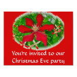 "Red Clematis Merry Christmas 4.25"" X 5.5"" Invitation Card"
