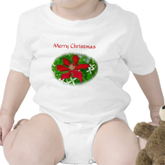 Red Clematis Merry Christmas Bodysuit