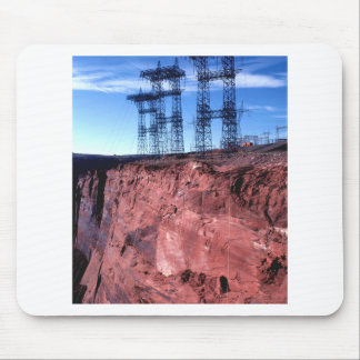 Red cliff Power lines Mouse Pad