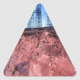 Red cliff Power lines Triangle Stickers