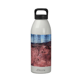 Red cliff Power lines Water Bottle