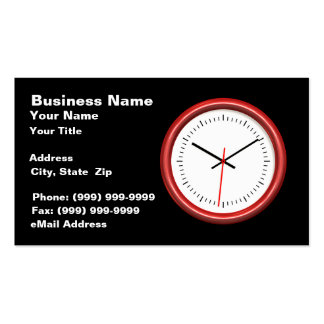 Red Clock on Black Background Double-Sided Standard Business Cards (Pack Of 100)