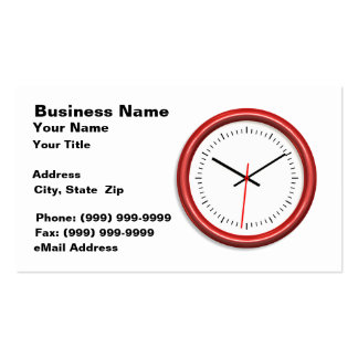 Red Clock on White Background Double-Sided Standard Business Cards (Pack Of 100)