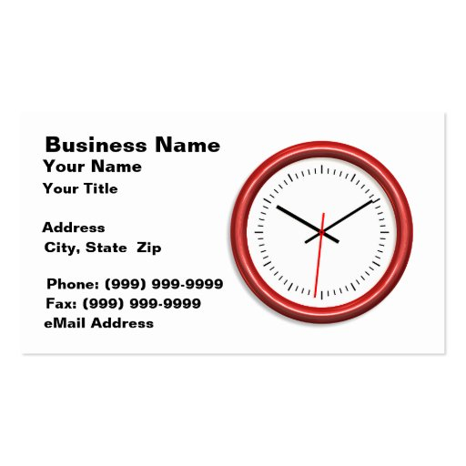 Red Clock on White Background Business Card Template