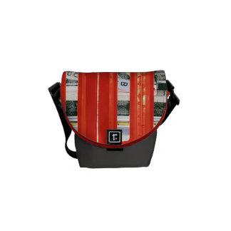 red closed bus door bag messenger bags