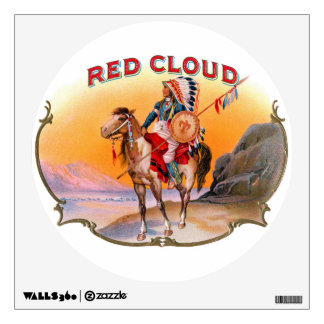 Red Cloud cigar box label 1800s Wall Decals