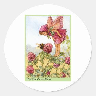 Red Clover Fairy Classic Round Sticker