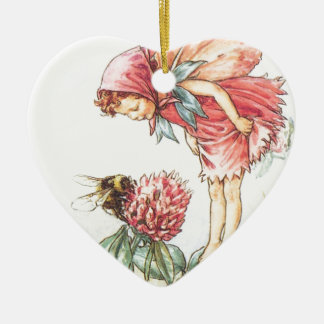 Red Clover Fairy Heart Ornament