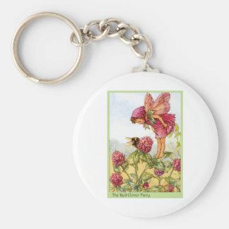 Red Clover Fairy Basic Round Button Keychain