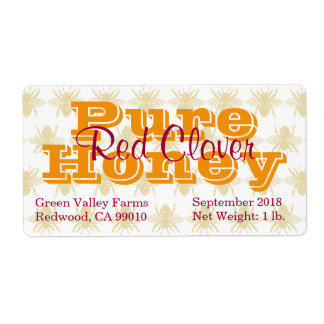 Red Clover Honey Jar Label