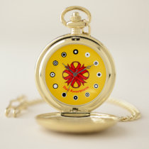 Red Clover Ribbon (Bf) by K Yoncich Pocket Watch