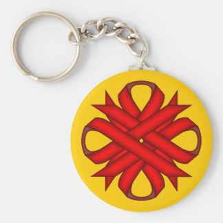 Red Clover Ribbon by Kenneth Yoncich Keychain