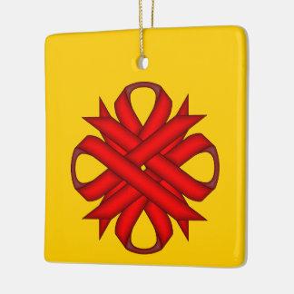 Red Clover Ribbon Ceramic Ornament