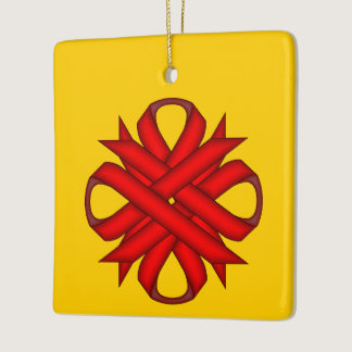 Red Clover Ribbon Ceramic Ornament
