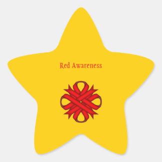 Red Clover Ribbon Star Sticker