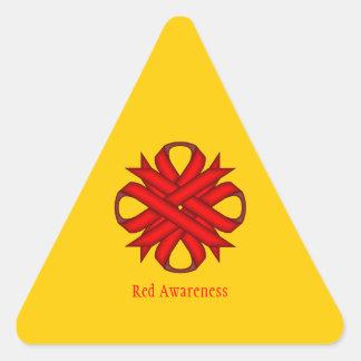 Red Clover Ribbon Triangle Sticker