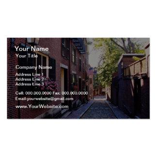 Red Cobblestone Acorn Street flowers Business Cards
