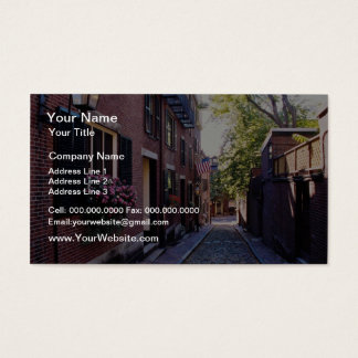 Red Cobblestone Acorn Street flowers Business Card