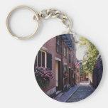 Red Cobblestone Acorn Street flowers Key Chain