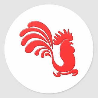 red cock talk more rooster classic round sticker