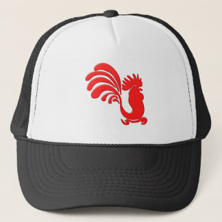 red cock talk more rooster trucker hat