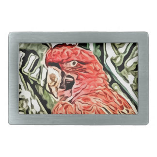 red cockatoo painting belt buckle