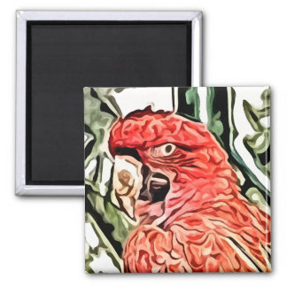 red cockatoo painting refrigerator magnets
