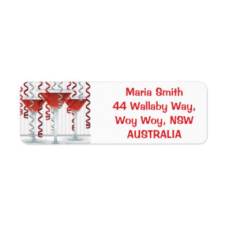 Red cocktail and ribbon label
