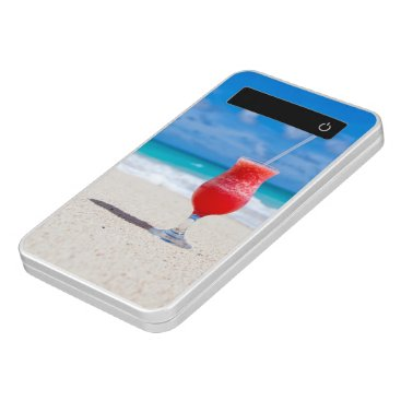 Beach Themed Red Cocktail Drink on Tropical Sandy Beach Power Bank