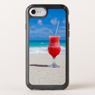 Beach Themed Red Cocktail Drink on Tropical Sandy Beach Speck iPhone Case