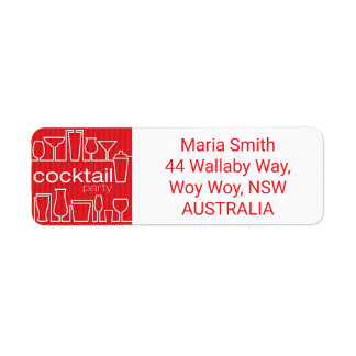 Red cocktail party label