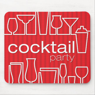 Red cocktail party mouse pad