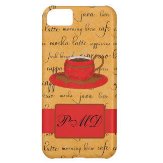 Red Coffee Cup Art Gold Script Words Monogram Case For iPhone 5C