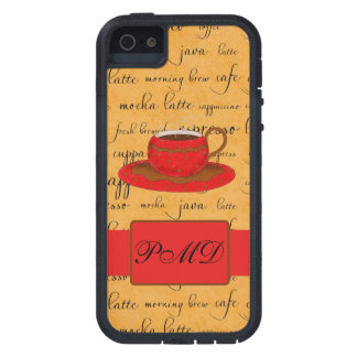 Red Coffee Cup Art Gold Script Words Monogram Case For iPhone SE/5/5s