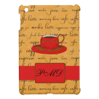 Red Coffee Cup Art Gold Script Words Monogram Case For The iPad Mini