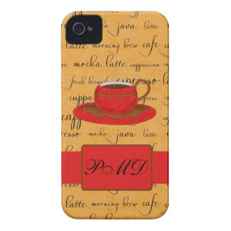 Red Coffee Cup Art Gold Script Words Monogram Case-Mate iPhone 4 Case
