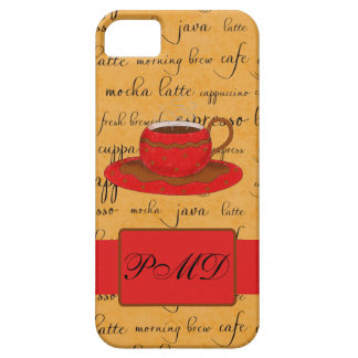 Red Coffee Cup Art Gold Script Words Monogram iPhone SE/5/5s Case