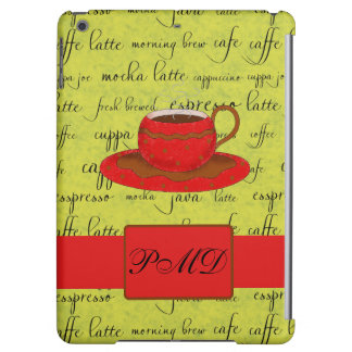 Red Coffee Cup Art Lime Green Script Words Monogra iPad Air Case