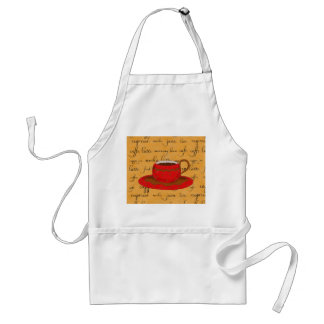 Red Coffee Cup Art on Gold Script Words Aprons